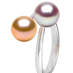 Anello You&Me, argento 925 perle d'acqua dolce lavanda e pesca