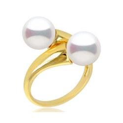 Anello You&Me, Oro 18k con 2 perle d'acqua dolce 8-9 mm DOLCEHADAMA
