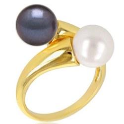 Anello You&Me, Oro 18k con due perle d'acqua dolce 8-9 mm AAA colore a scelta