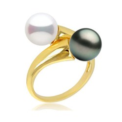 Anello You&Me, Oro 18k Perla DOLCEHADAMA e perla di Tahiti