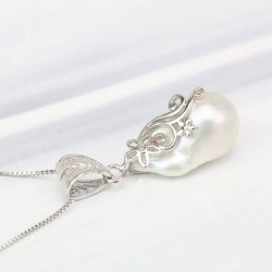 Pendente e catena in argento sterling 925 40 cm Perla Soufflé d'acqua dolce 25x14 mm